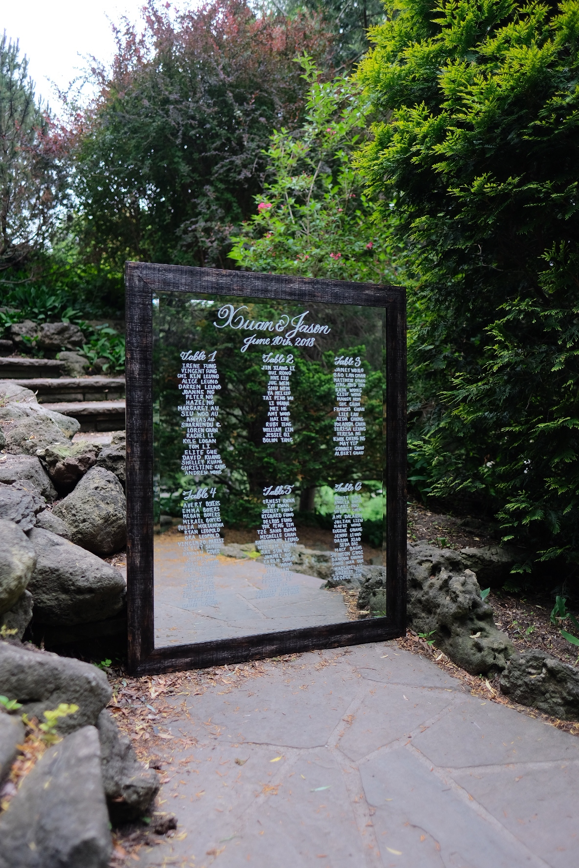 Client's Mirror Seating Chart at Edwards Garden