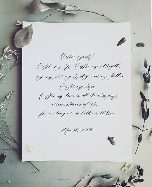 Wednesday's wedding vows 💙 These projects are becoming one of my favourites. There is nothing more special than having the most sentimental promises between loved ones being captured by ink and nib.