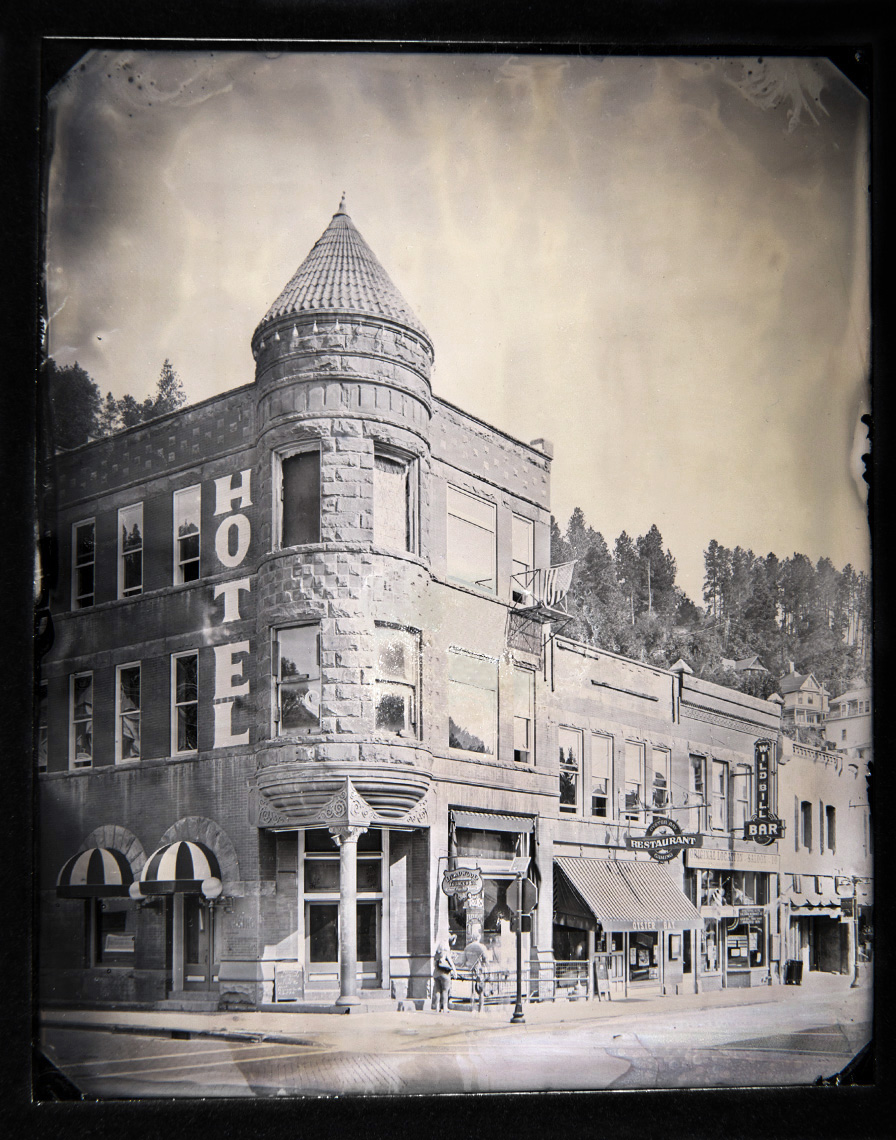 Fairmont Hotel, Deadwood, South Dakota    Wet Plate Tintype on Aluminum   This former Victorian brothel, bar, and gaming hall is located on Main Street in Deadwood and has featured as a prominent landmark in town since it's construction in the late 1800's.