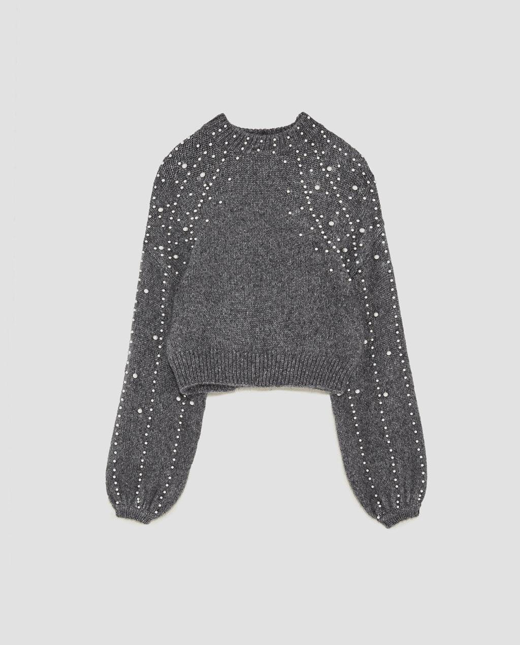ZARA Pearl Cropped Sweater