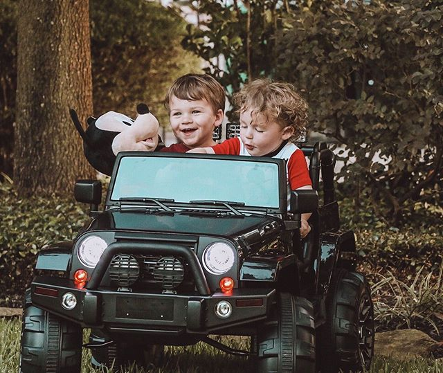 This kid is still on cloud nine in his new whip! I feel like I'm looking into the furture shenanigans with these two behind the wheel 🙈🤣 Gotta love @bcproducts for the cool rides! They have so many options. This jeep has a remote control so we can drive Fisher around until he learns to do it himself. Our walks will never be the same 🤣 Here's 2!  #birthday #thisistwo #two #boymom #boys #cousins #boycousins #ride #jeep #bcproducts #blogger #momblogger