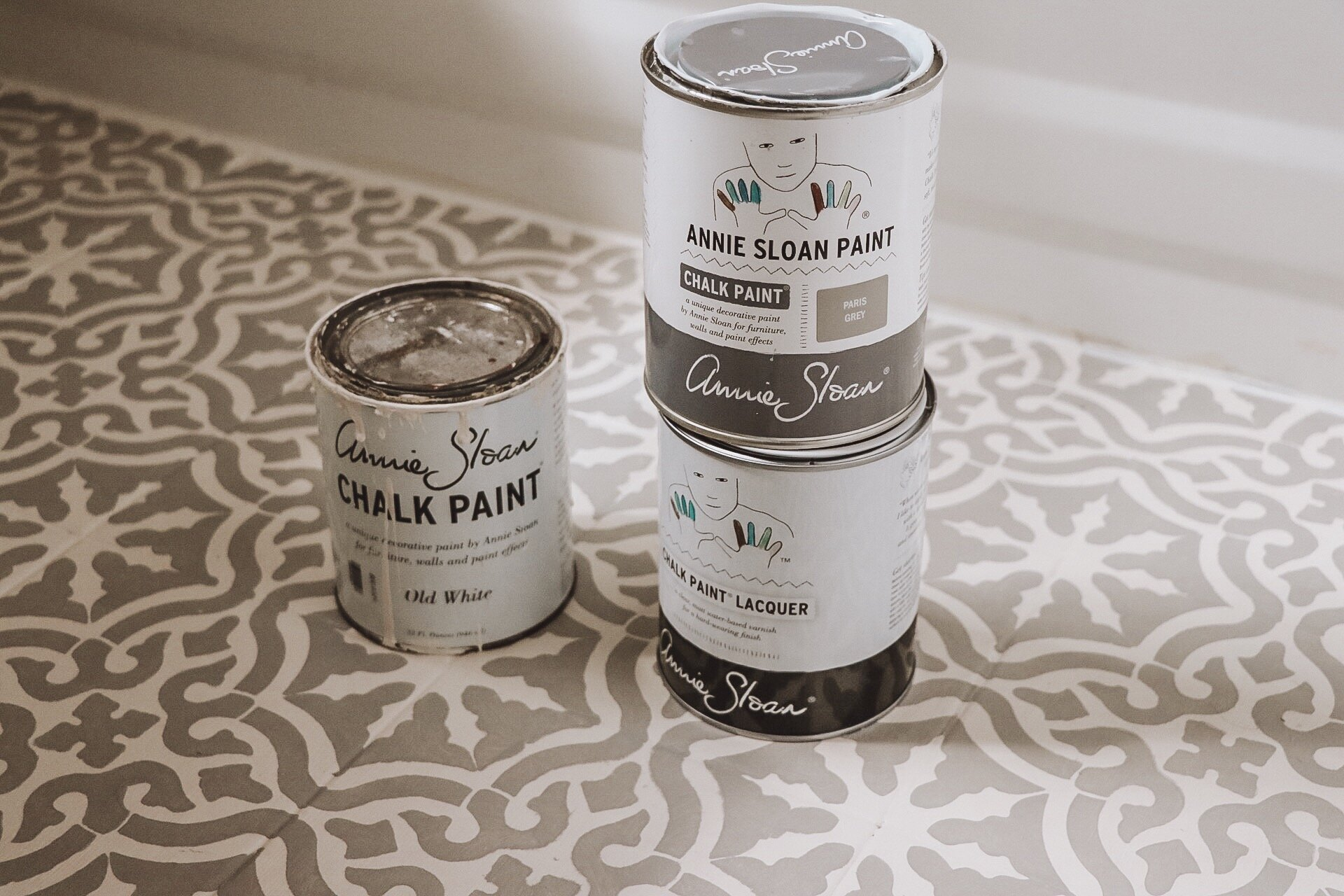 How to Stencil Your Bathroom Floor with Chalk Paint