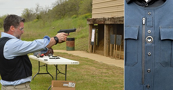 Left photo: The data recording system is tested with live ammunition by BodyWorn Chief Operating Officer Anthony Baldoni during a recent demonstration at Elm Fork Shooting Sports. Right Photo: Body camera recording system by BodyWorn has the ability to record police interactions without an officer being able to shut off or mute the footage.