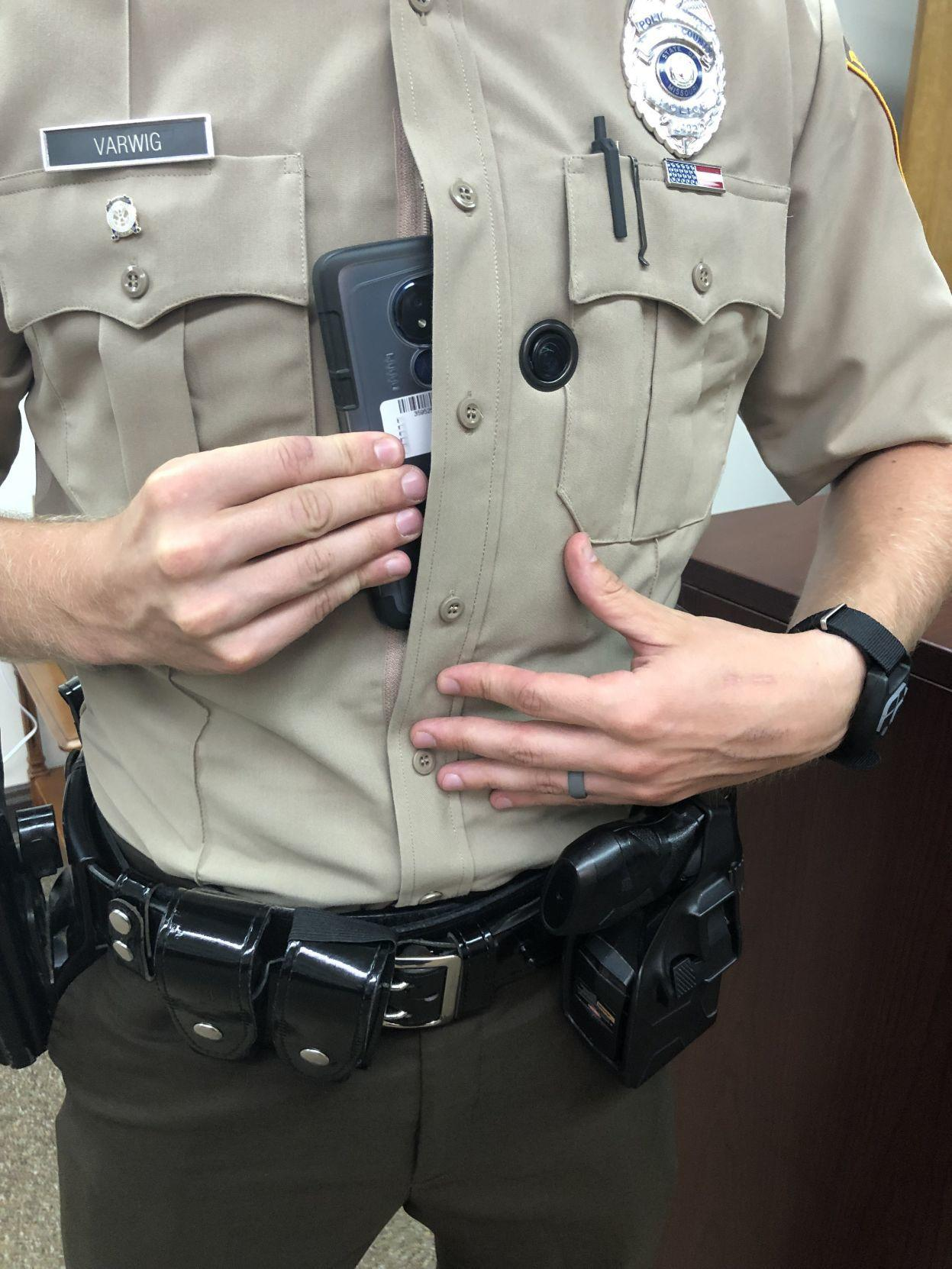 About 700 St. Louis County police officers will be wearing body cameras by the end of the first quarter in 2020. Photo by Christine Byers of the St. Louis Post-Dispatch
