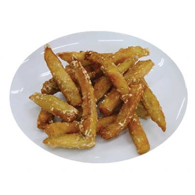 BATTERED EGGPLANT FRIES - Tender sticks of fresh eggplant are lightly battered then quickly frozen to seal in the eggplant's meaty texture and flavor.Item 02007 // Case Pack: 2/5 lb. bags // Case Net Wt: 10 lbs. // Product of Dominican Republic // MORE INFO