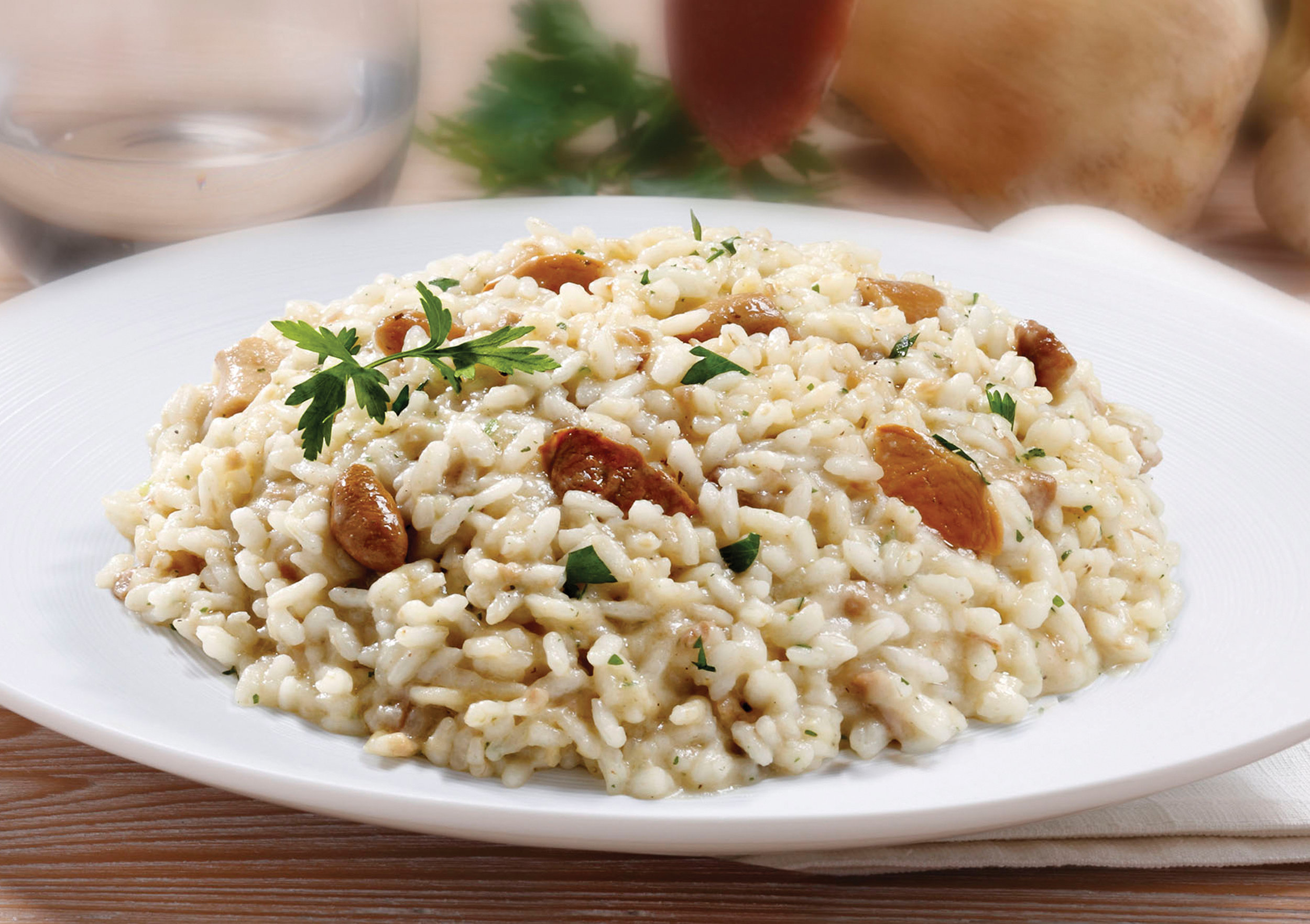 RISOTTO WITH PORCINI MUSHROOMS - This ready to cook and serve Risotto is made with our imported Carnaroli Rice and includes a rich and creamy blend of Grana Padano cheese and fresh Porcini, giving this dish an earthy balance.Item 02013   //  Case Pack: 12/10.58 oz. bags  //  Case Net Wt: 7.9 lbs.  //  Product of Italy  //  MORE INFO