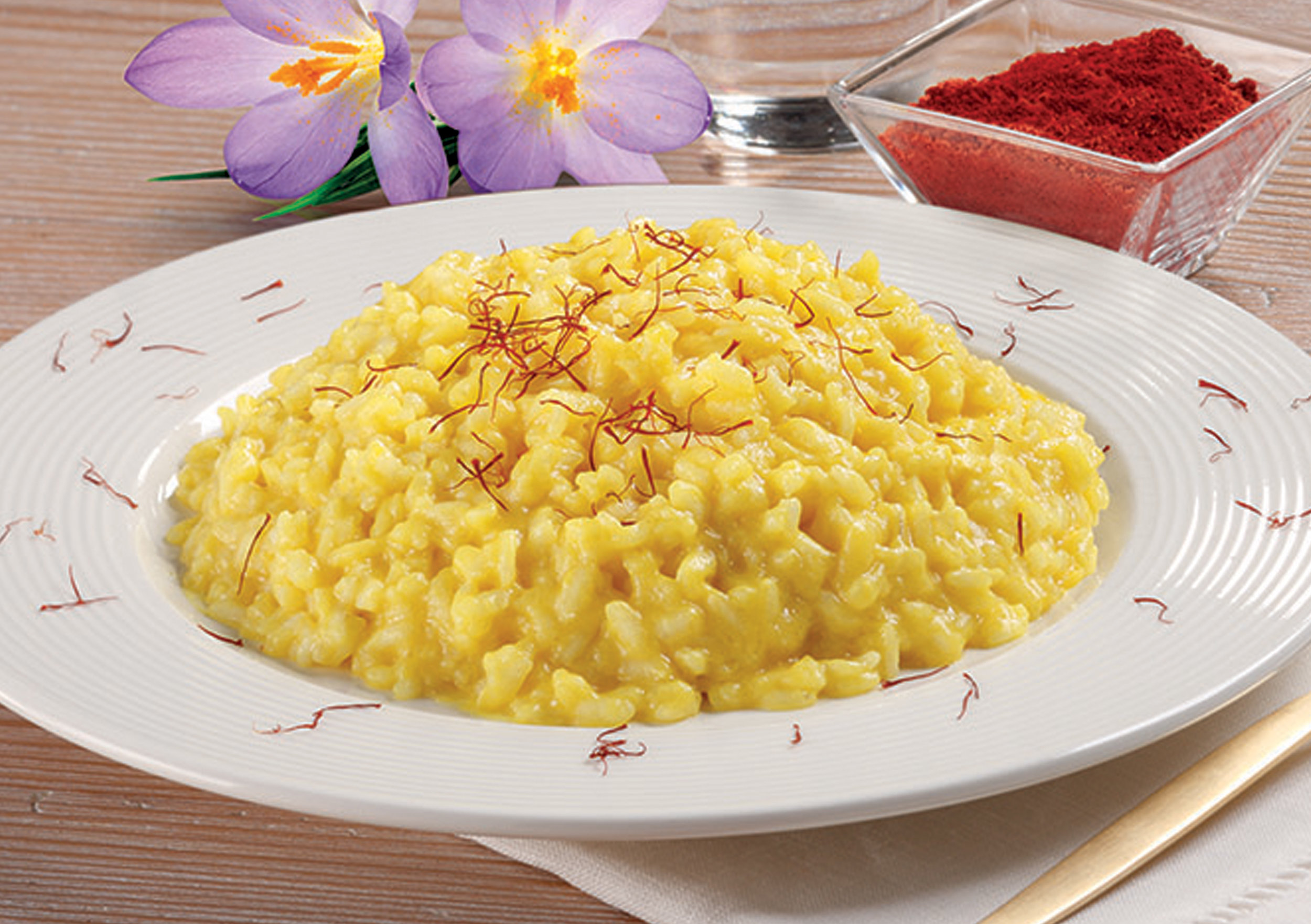 SAFFRON RISOTTO - This ready to cook and serve Risotto is made with our imported Carnaroli Rice and includes a rich and creamy blend of Grana Padano cheese and imported Saffron threads, giving this dish flavor and color.Item 02014  //  Case Pack: 12/10.58 oz. bags  //  Case Net Wt: 7.9 lbs.  //  Product of Italy  //  MORE INFO