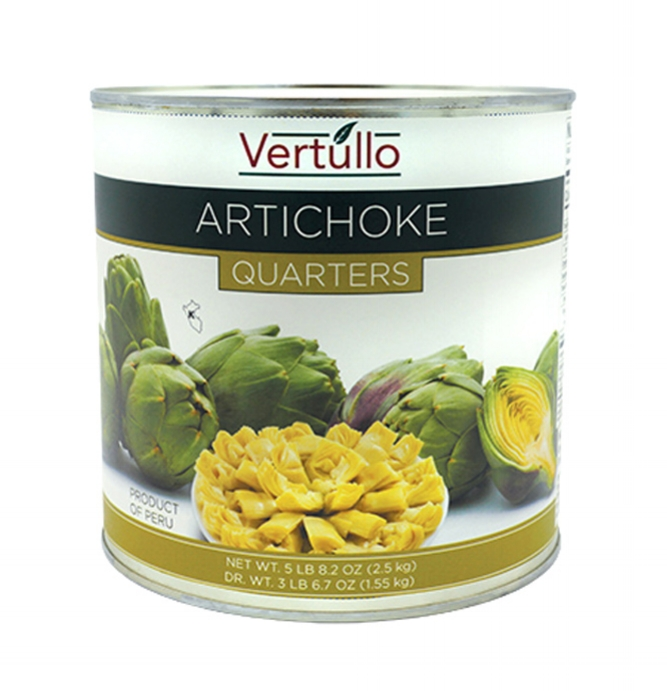 ARTICHOKE QUARTERS - We select only the finest artichokes available. Cleaned and quartered for ease of use.Item 02029 // Case Pack: 6/2.5 Kg. // Case Net Wt: 15 Kg. // Product of Peru // MORE INFO