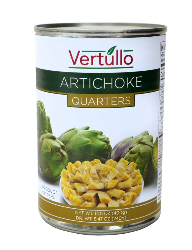 ARTICHOKE QUARTERS - We select only the finest artichokes available. Cleaned and quartered for ease of use.Item 02280 // Case Pack: 12/14.11 oz. // Case Net Wt: 10.5 lbs. // Product of Peru // MORE INFO