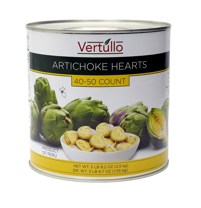 ARTICHOKE HEARTS, 40-50 COUNT - We select only the finest artichokes available. Each can includes 40-50 large hearts. Artichoke Hearts have a mild and nutty flavor, with a firm yet tender texture.Item 02046 // Case Pack: 6/2.5 Kg. // Case Net Wt: 33 lbs. // Product of Peru // MORE INFO