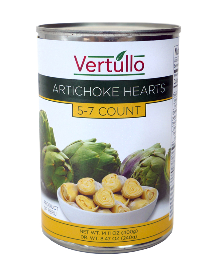 ARTICHOKE HEARTS, 5-7 COUNT - We select only the finest artichokes available. Each can includes 5-7 large hearts. Artichoke Hearts have a mild and nutty flavor, with a firm yet tender texture.Item 02282 // Case Pack: 12/14.11 oz. // Case Net Wt: 10.5 lbs. // Product of Peru // MORE INFO