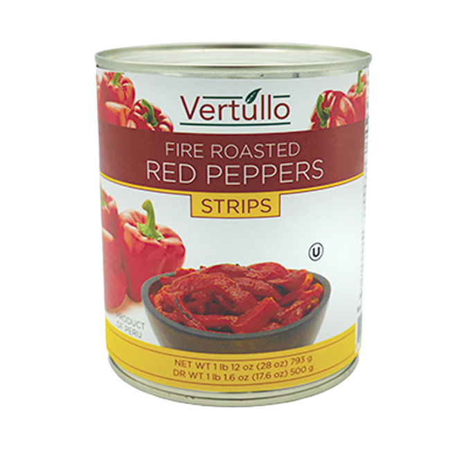FIRE ROASTED RED PEPPERS - STRIPS - Our red peppers are picked at the peak of ripeness and fire roasted to perfection. Each red pepper strip features a distinct smoky flavor with a subtle sweetness that lends itself well to pizza, salads, sandwiches, pasta dishes and antipasto.Item 02038 // Case Pack: 12/28 oz. // Case Net Wt: 21 lbs. // Product of Peru // MORE INFO