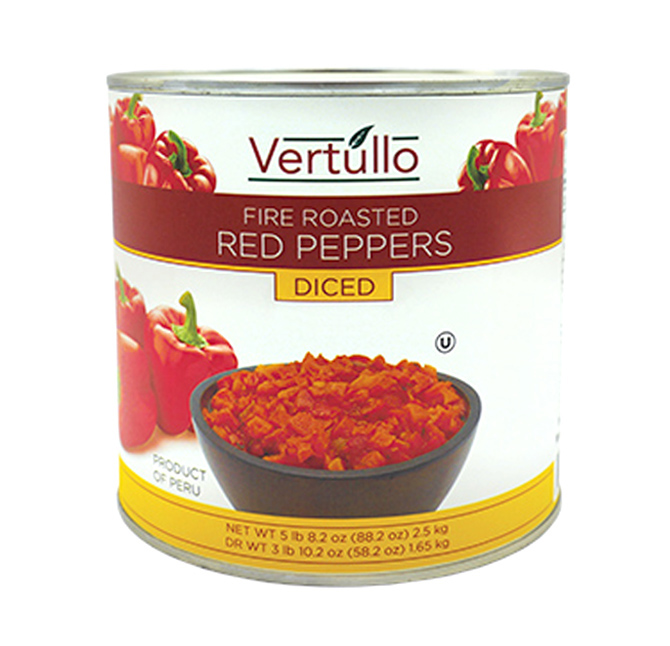 FIRE ROASTED RED PEPPERS - DICED - Our red peppers are picked at the peak of ripeness and fire roasted to perfection. Each diced pepper features a distinct smoky flavor with a subtle sweetness that lends itself well to pizza, salads, sandwiches, pasta dishes and more.Item 02039 // Case Pack: 6/2.5 Kg. // Case Net Wt: 15 Kg. // Product of Peru // MORE INFO