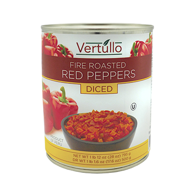 FIRE ROASTED RED PEPPERS - DICED - Our red peppers are picked at the peak of ripeness and fire roasted to perfection. Each diced pepper features a distinct smoky flavor with a subtle sweetness that lends itself well to pizza, salads, sandwiches, pasta dishes and more.Item 02040 // Case Pack: 12/28 oz. // Case Net Wt: 21 lbs. // Product of Peru // MORE INFO