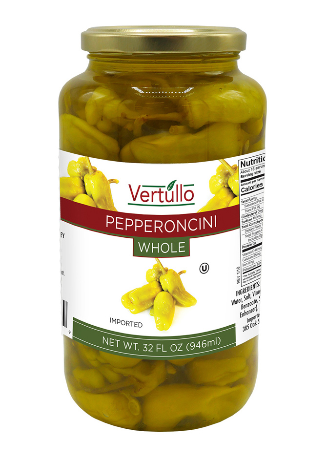 WHOLE PEPPERONCINI - We use only the most tender yet crispy peppers on the market. Sweet and spicy, our whole golden pepperoncini peppers are ideal for salads, sandwiches, antipasto or as a pizza topping. Use to spice up an entrée.Item 02057 // Case Pack: 6/32 oz. // Case Net Wt: 12 lbs. // Product of Turkey // MORE INFO
