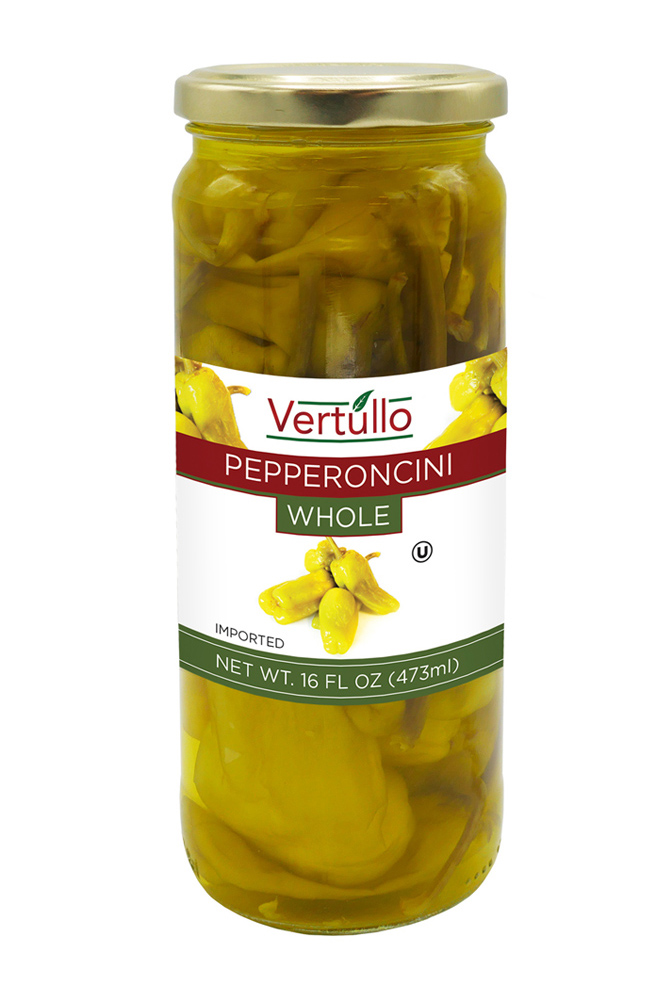 WHOLE PEPPERONCINI - We use only the most tender yet crispy peppers on the market. Sweet and spicy, our whole golden pepperoncini peppers are ideal for salads, sandwiches, antipasto or as a pizza topping. Use to spice up an entrée.Item 02051 // Case Pack: 12/16 oz. // Case Net Wt: 12 lbs. // Product of Turkey // MORE INFO