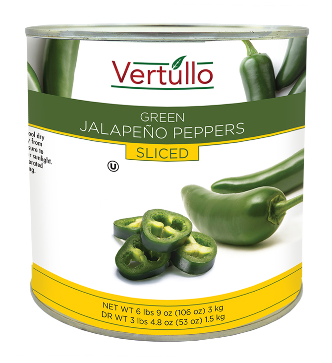 GREEN JALAPEÑO PEPPERS - SLICED - Zesty jalapeños are sliced and pickled for the perfect bite. Excellent as a pizza topping, on sandwiches, salads and a great way to kick up that homemade salsa.Item 02042 // Case Pack: 6/3 Kg. // Case Net Wt: 40 lbs. // Product of Turkey // MORE INFO
