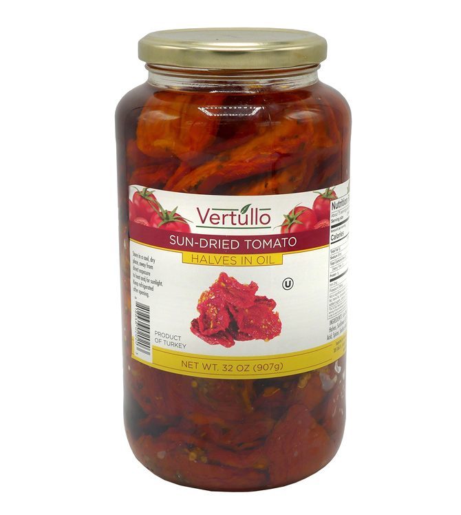 SUN-DRIED TOMATO HALVES IN OIL - Create tasty entrées and meals with our true whole sun-dried tomatoes. Fresh, vine-ripened tomatoes are hand selected and naturally sun-dried to retain their taste and freshness.Item 02020 // Case Pack: 6/32 oz. // Case Net Wt: 12 lbs. // Product of Turkey // MORE INFO