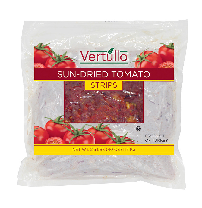 SUN-DRIED TOMATO STRIPS - Create tasty entrées and meals with our true sun-dried tomato strips. Fresh, vine-ripened tomatoes are hand selected and naturally sun-dried to retain their taste and freshnessItem 02025 // Case Pack: 2/2.5 lb. // Case Net Wt: 5 lbs. // Product of Turkey // MORE INFO