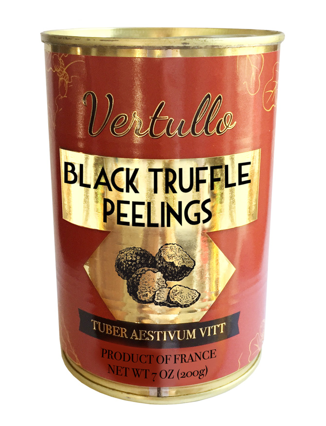 BLACK TRUFFLE PEELINGS - Our Tuber aestivum Vitt Truffles are well brushed then sliced and packed in pure truffle juice. Truffle Peelings are primarily used as a garnish in dishes containing truffle flavored oil or truffle butter, helping to increase that intense, earthy aroma and flavor.Item 02740 // Case Pack: 6/7 oz. // Case Net Wt.: 2.64 lbs. // Product of France // MORE INFO