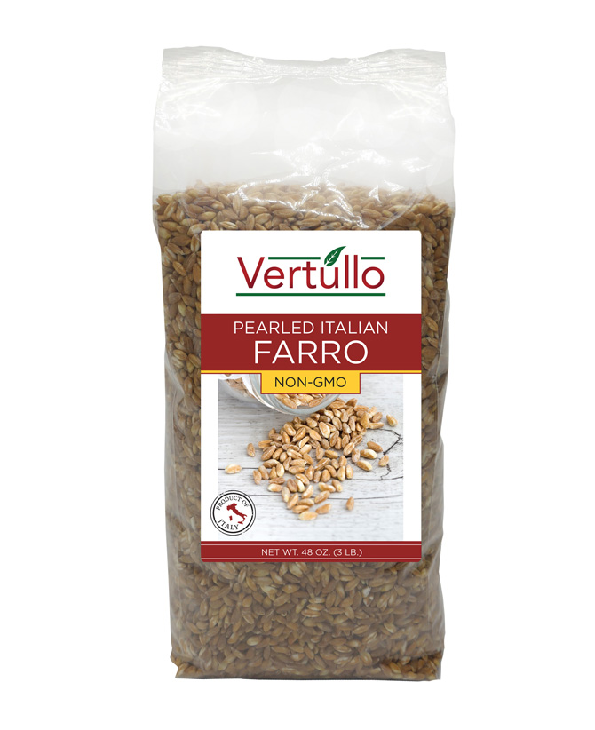 FARRO - Farro has a firm, chewy bite. Our Farro is pearled, so it requires less cook time than whole, unpearled or semi-pearled Farro. Nearly fat free, completely cholesterol free and a great source of iron and fiber, this heart-healthy choice is perfect for vegetarians and vegans. Excellent in salads, soups and more.Item 02444 // Case Pack: 4/3 lb. // Case Net Wt: 12 lbs. // Product of Italy // MORE INFO