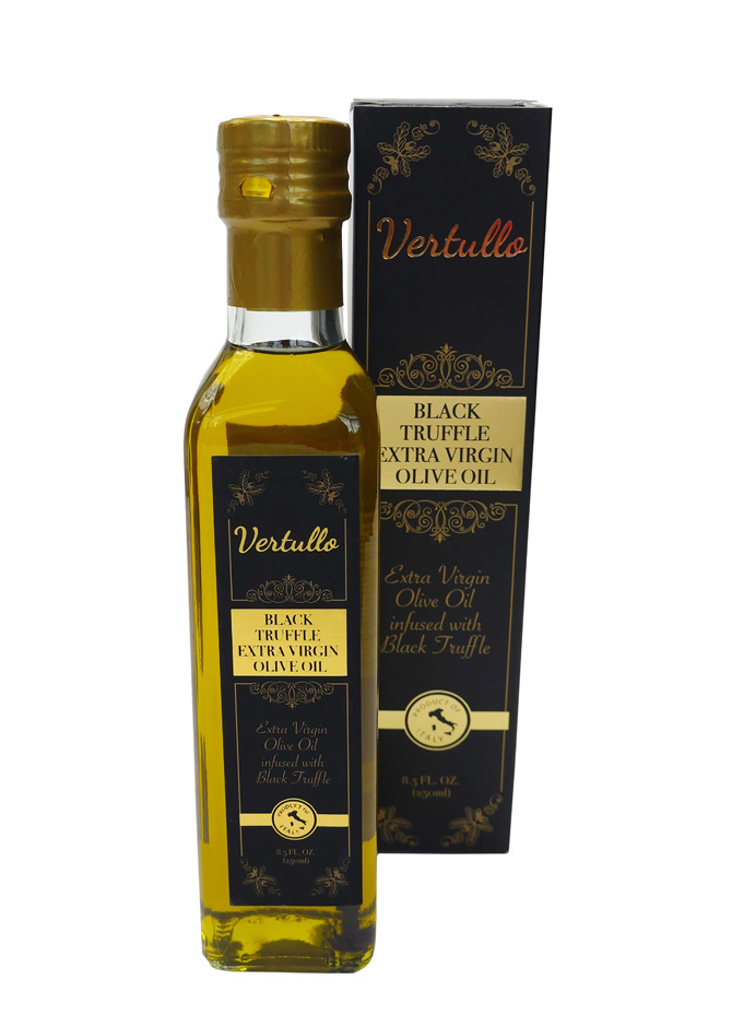 BLACK TRUFFLE EXTRA VIRGIN OLIVE OIL - This is a smooth extra virgin olive oil infused with a strong, earthy black truffle flavor and aroma. For a rich, indulgent main course or side, use as a finishing oil to dress dishes just before serving.Item 02736 // Case Pack: 6/250 ml // Case Net Wt: 3.20 lbs. // Product of Italy // MORE INFO