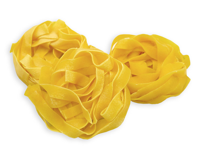 EGG TAGLIATELLE - These IQF, whole egg pasta nests are pre-cooked, so preparation is fast and easy (just 2 minutes in boiling water). Classic Italian Tagliatelle are long, thick-cut pasta, similar in shape to fettuccine. Tagliatelle pair well with a Bolognese sauce and can be used in chicken noodle soup, beef stroganoff and more.Item 02297 // Case Pack: 1/3 Kg // Case Net Wt: 6.6 lbs // Product of Italy // MORE INFO