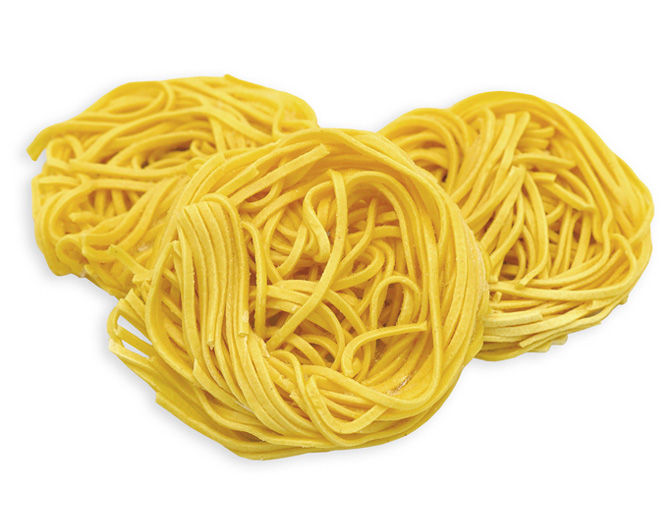 EGG SPAGHETTI ALLA CHITARRA - These IQF, whole egg pasta nests are pre-cooked, so preparation is fast and easy (just 2 minutes in boiling water). Classic Italian Spaghetti Alla Chitarra are long, thick-cut pasta that are square, rather than cylindrical in shape. Frequently served with cacio e pepe, carbonara, tomato sauce, meat, vegetables and seafood.Item 02298 // Case Pack: 1/3 Kg // Case Net Wt: 6.6 lbs // Product of Italy // MORE INFO