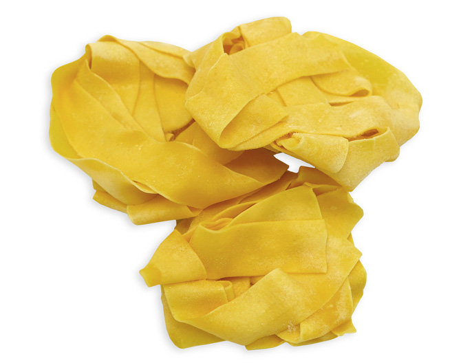 EGG PAPPARDELLE - These IQF, whole egg pasta nests are pre-cooked, so preparation is fast and easy (just 2 minutes in boiling water). Classic Italian Pappardelle are large, very broad, flat pasta noodles. The origins of the Pappardelle name stem from the Italian verb