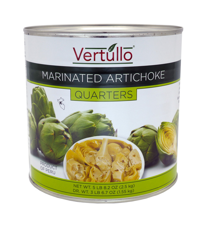 MARINATED ARTICHOKE QUARTERS - We select only the finest artichokes available. Cleaned and quartered for ease of use, these premium quality, tender Artichoke Quarters are marinated in oil, herbs and spices.Item 02287 // Case Pack: 6/2.5 kg. // Case Net Wt: 33 lbs. // Product of Peru // MORE INFO