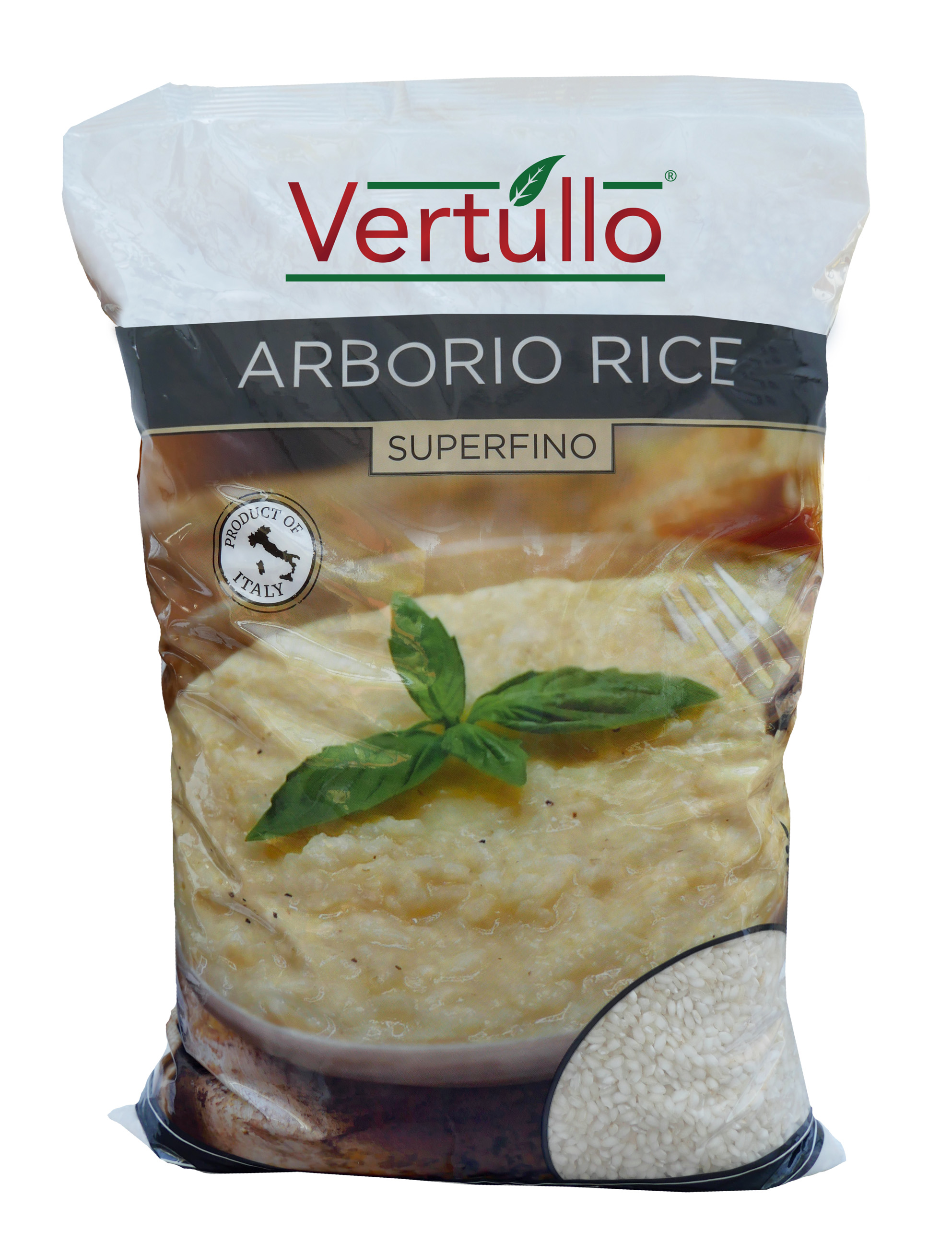 ARBORIO RICE - SUPERFINO - Arborio Rice is an Italian short-grain rice with a pearly white exterior. Arborio Rice undergoes less milling than ordinary long-grained rice, allowing it to retain more of its natural starch content. Cooking releases this starch, creating a creamy yet chewy bite, which makes it the perfect ingredient for risottos.Item 02460 // Case Pack: 4/5 Kg Bags // Case Net Wt: 44 lbs. // Product of Italy // MORE INFO