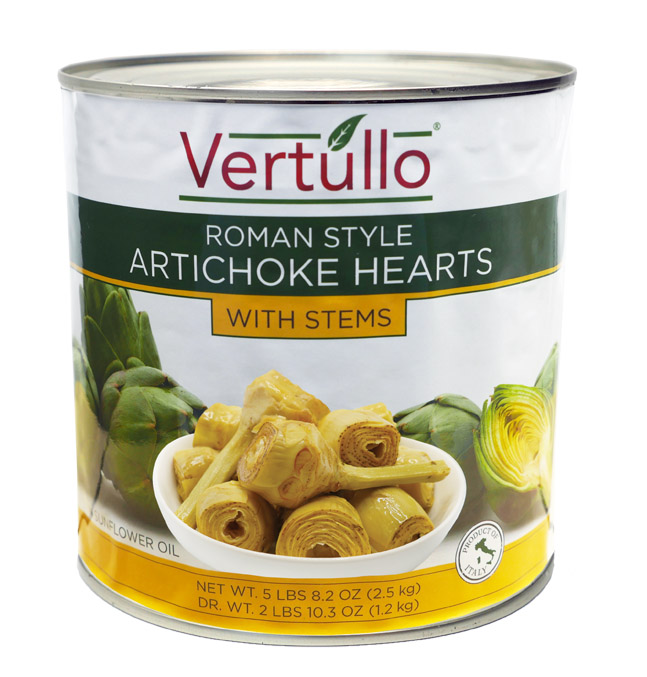ROMAN STYLE ARTICHOKE HEARTS WITH STEMS - We select only the finest artichokes available. Our Roman Style Artichoke Hearts with Stems are packed in sunflower oil and spices. These tender and aromatic Italian artichoke hearts are a beautiful addition to an antipasto. They can also be warmed and served as a side dish.Item 02270 // Case Pack: 6/2.5 Kg // Case Net Wt: 33 lbs. // Product of Italy // MORE INFO