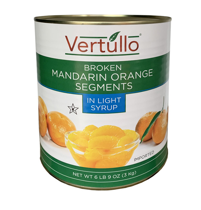 BROKEN MANDARIN ORANGE SEGMENTS - Our Broken Mandarin Orange Segments are packed in sweet and tangy juice. Great in stir fry, appetizers, baked goods and more.Item 02611 // Case Pack: 6/3 Kg. // Case Net Wt: 40 lbs. // Product of China // MORE INFO