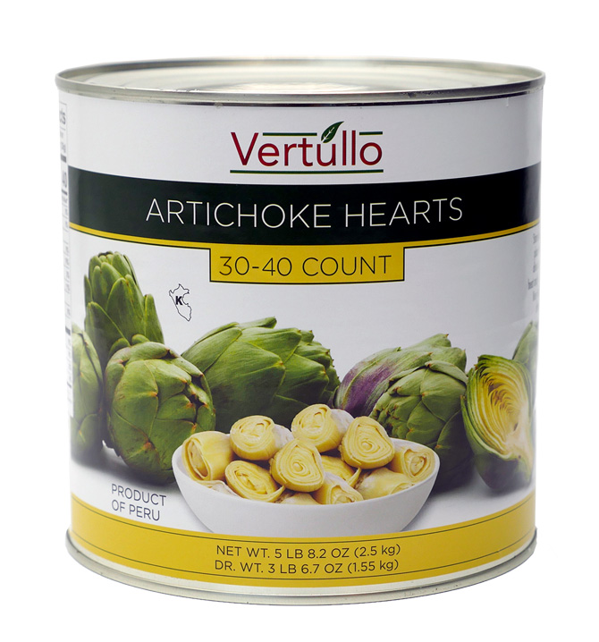 ARTICHOKE HEARTS, 30-40 COUNT - We select only the finest artichokes available. Each can includes 30-40  hearts. Artichoke Hearts have a mild and nutty flavor, with a firm yet tender texture.Item 02283 // Case Pack: 6/2.5 Kg. // Case Net Wt: 33 lbs. // Product of Peru // MORE INFO