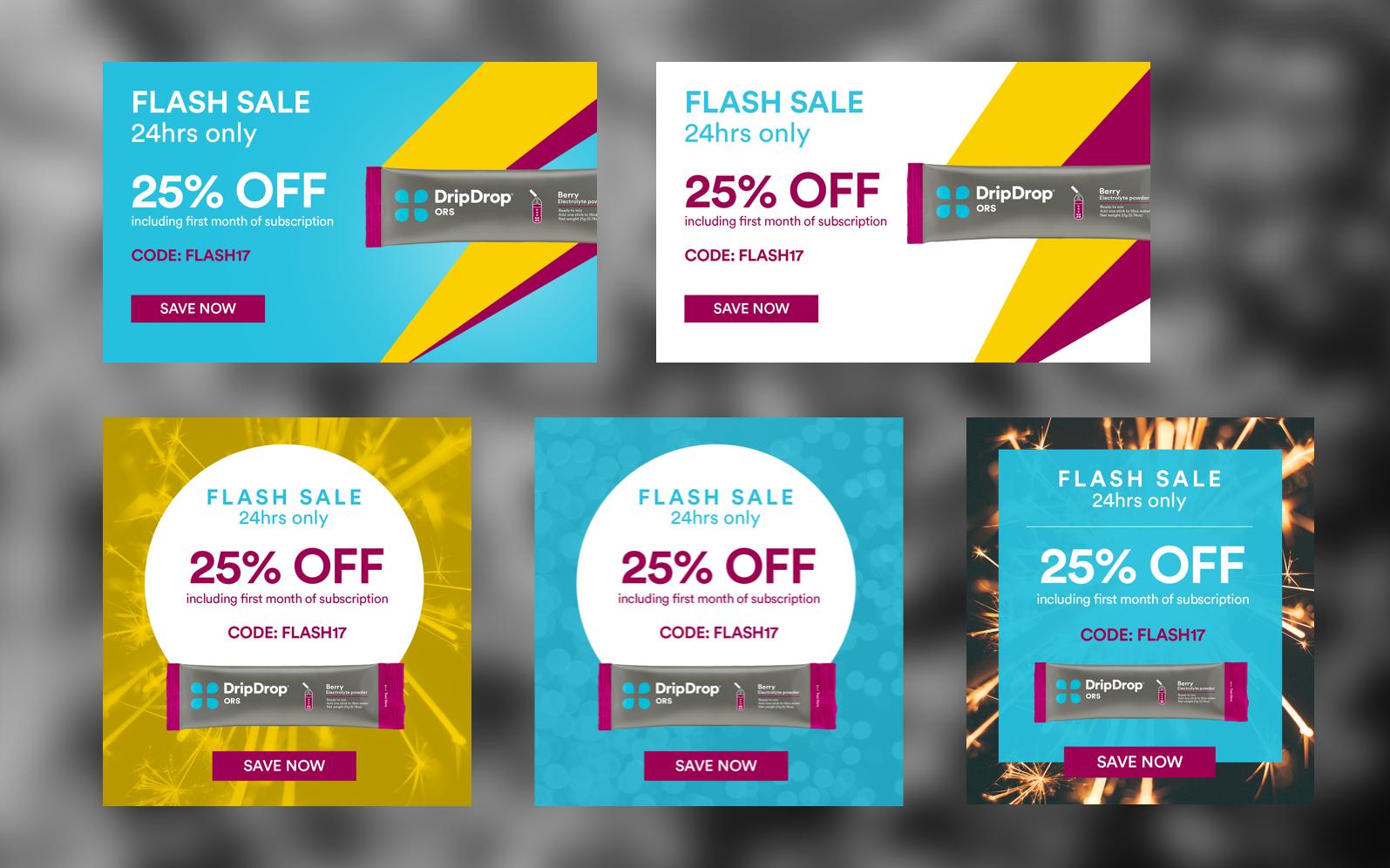 Explorations on flash sale visuals.