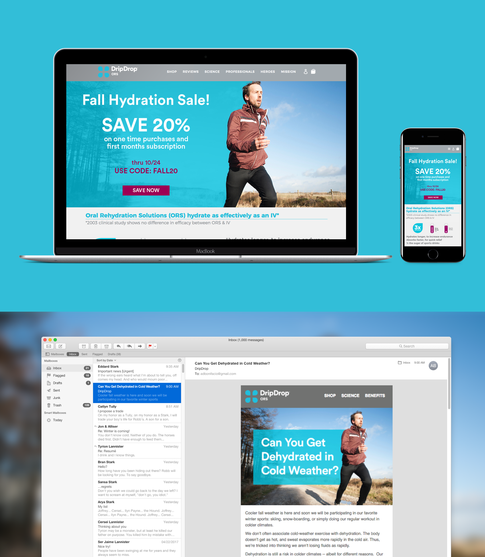 Designed hero images seen on desktop, mobile and email.