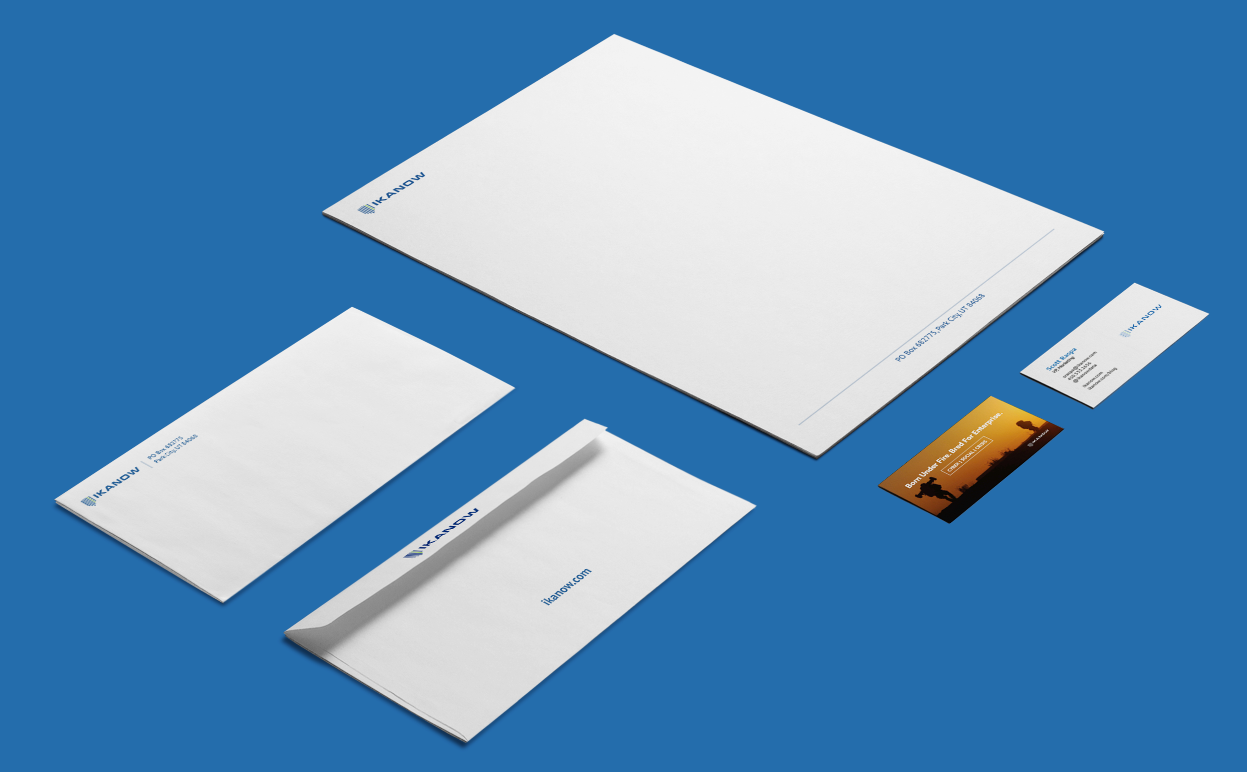IKANOW letterhead, envelope and business card.