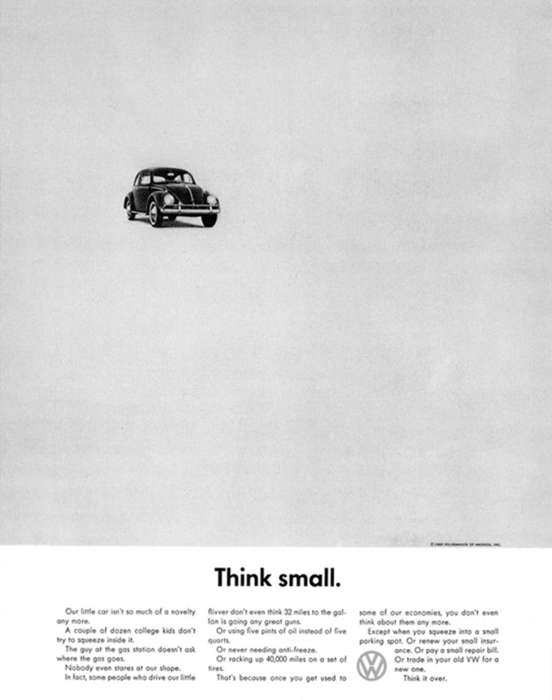 """The famous """"Think Small"""" print ad in 1959 by DDB Agency"""