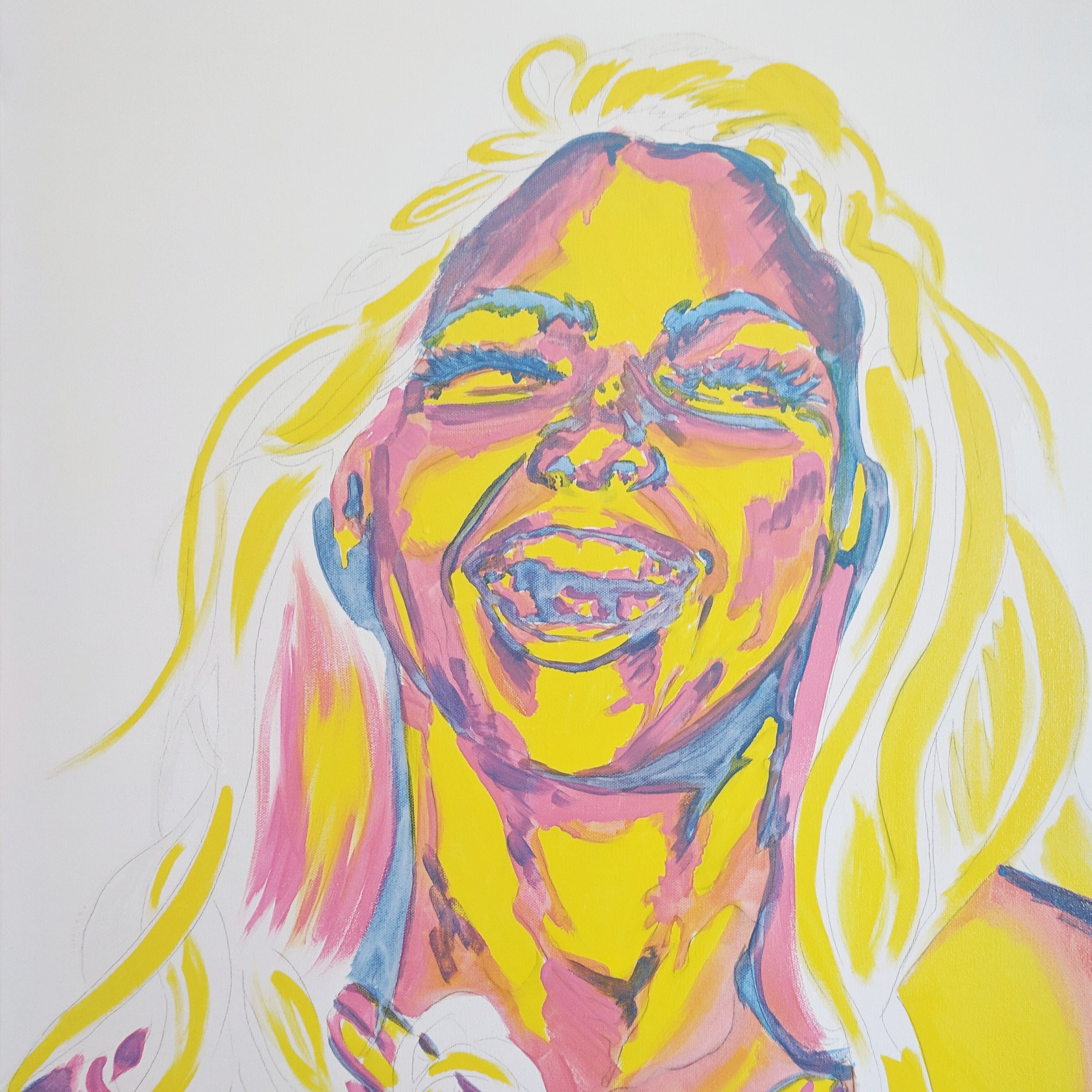 Underpainting from a new work in process. Go ahead and laugh! She is!