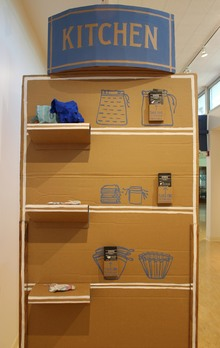 "3rd Place :  Jenny Murphy , ""goods: coffee & tea filter to 'buy',""site specific installation, 2015"