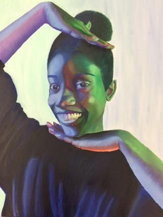 """Makeda Wells (Hazelwood High School), """"Self-Portrait,"""" 2017"""