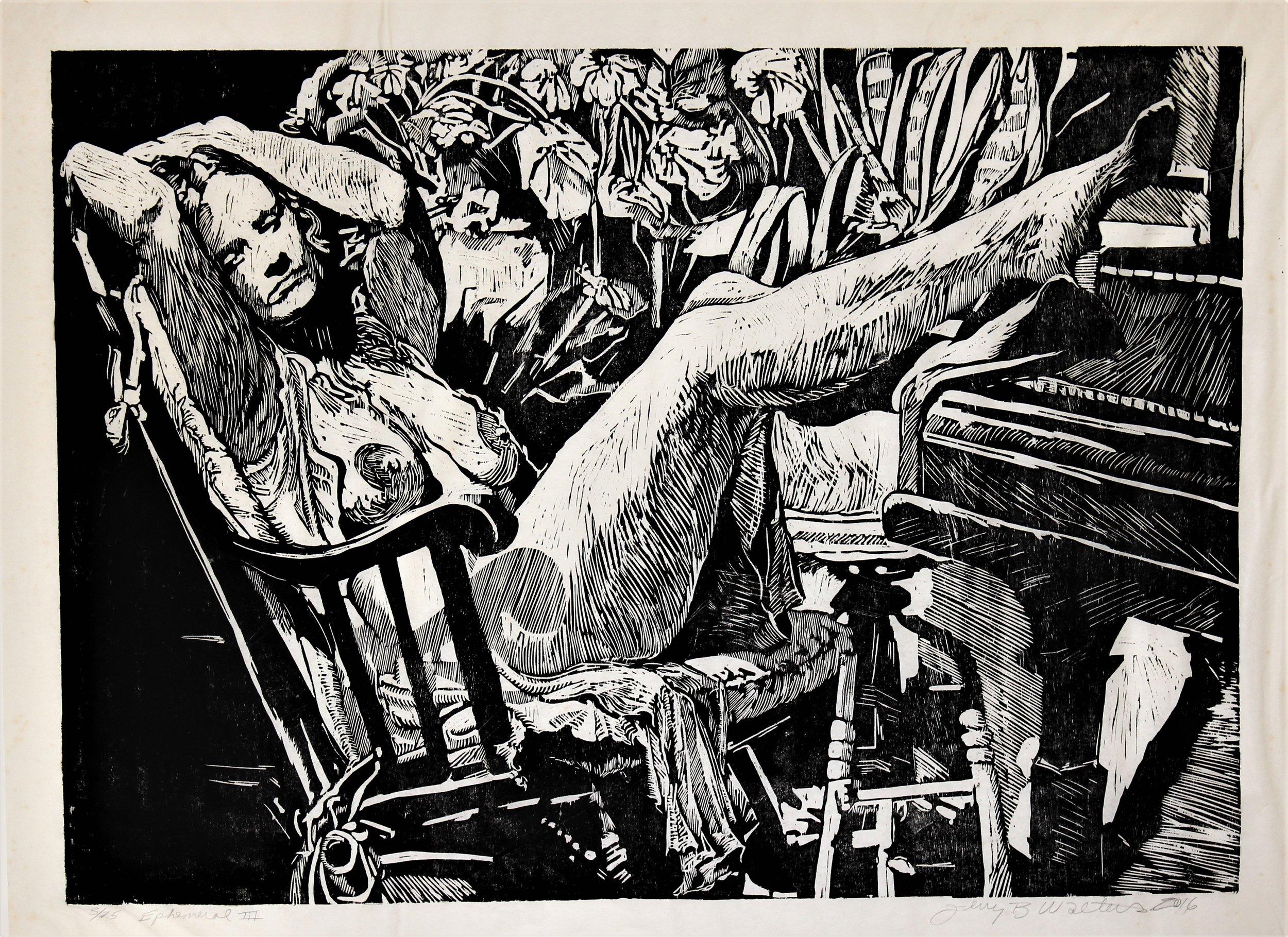 "2nd Place: Jerry Walters, ""ephemeral III, woodcut"