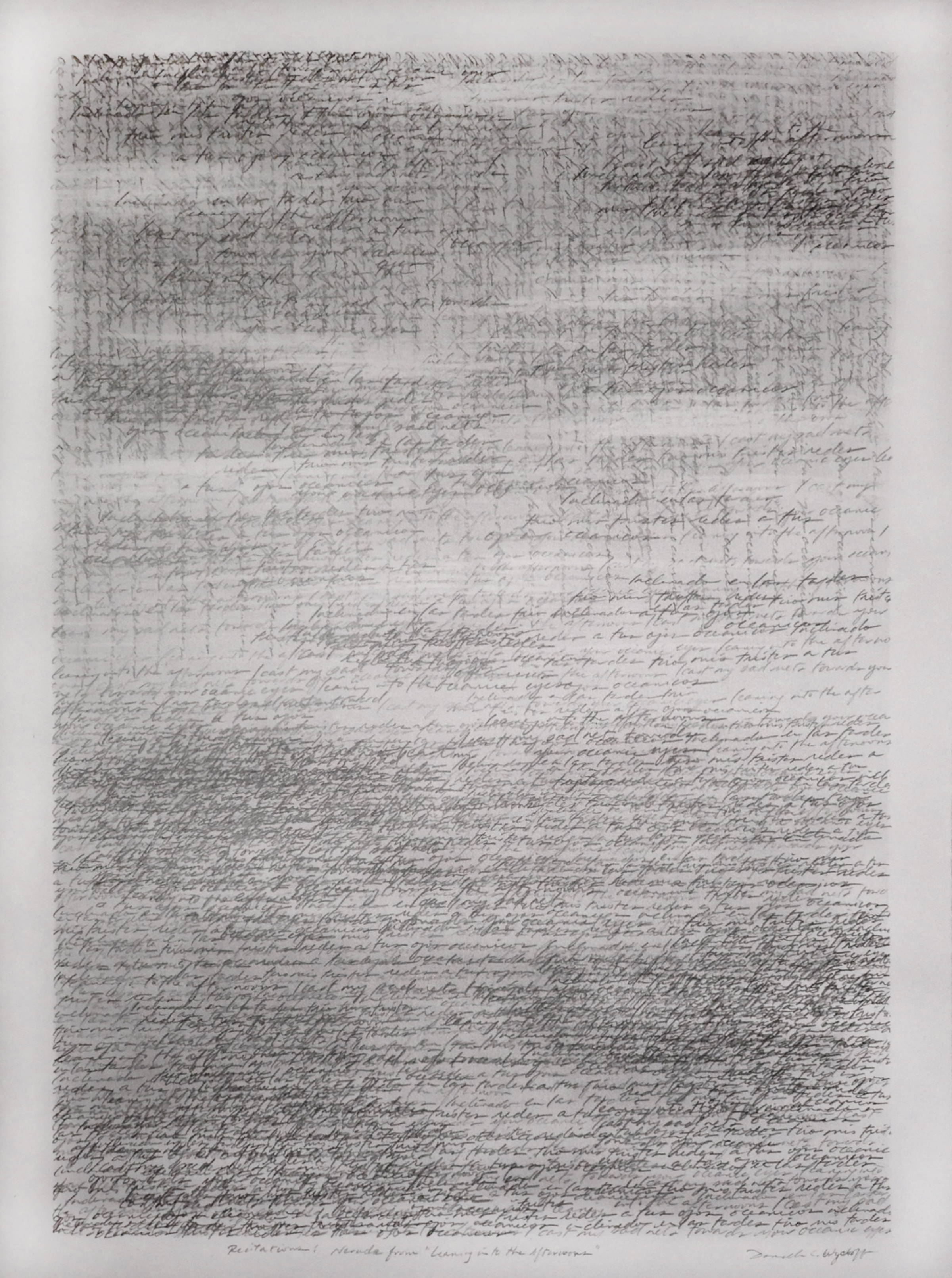 """Danielle Wyckoff, """"Recitations: Neruda from 'We Have Lost Even"""" graphite on paper."""