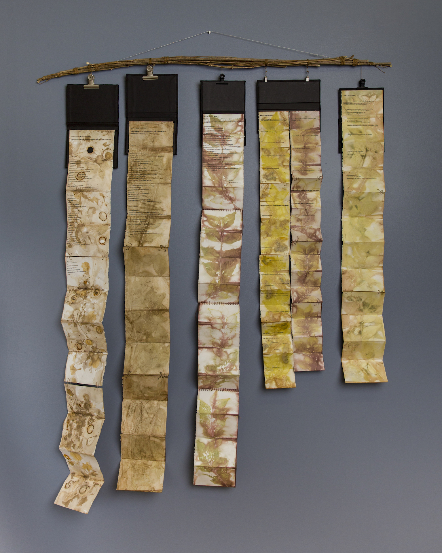 """""""Jeongyu"""" Natalie Turner-Jones, """"The Five Stages of Reconciliation,""""Eco-printed Japanese Bush Honeysuckle, Linen, Original Text, Deadfall twigs"""