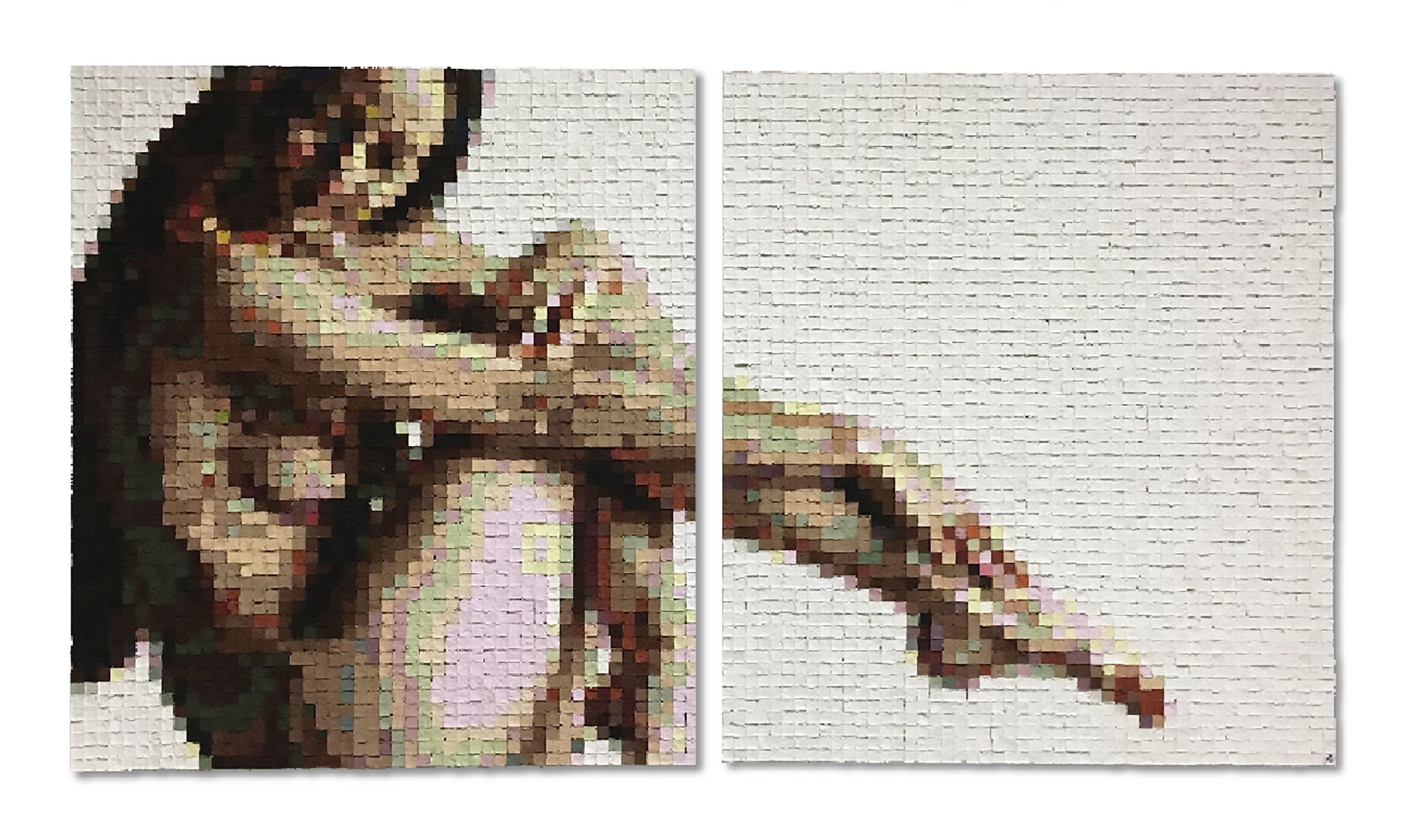 """Alex Paradowski, """"Woman in the Window,"""" Hand cast paper cubes and acrylic, 63"""" x 38"""""""
