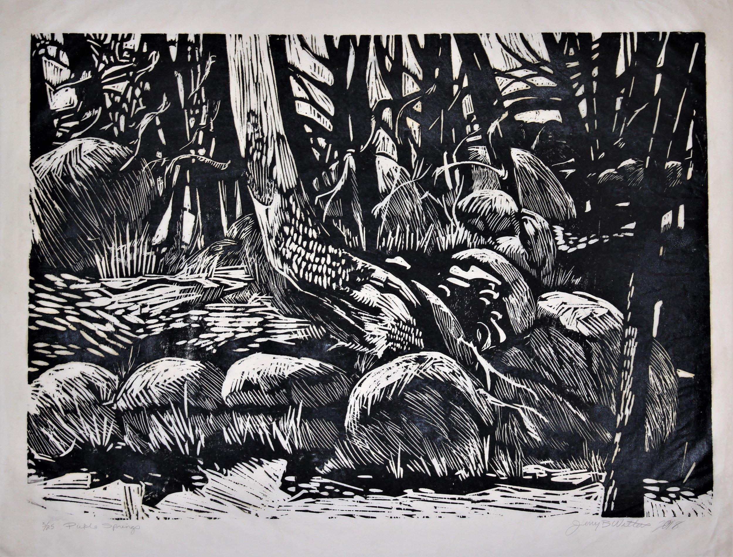 "Jerry Walters, ""pickle Springs,"" Woodblock print, 36"" x 48"""