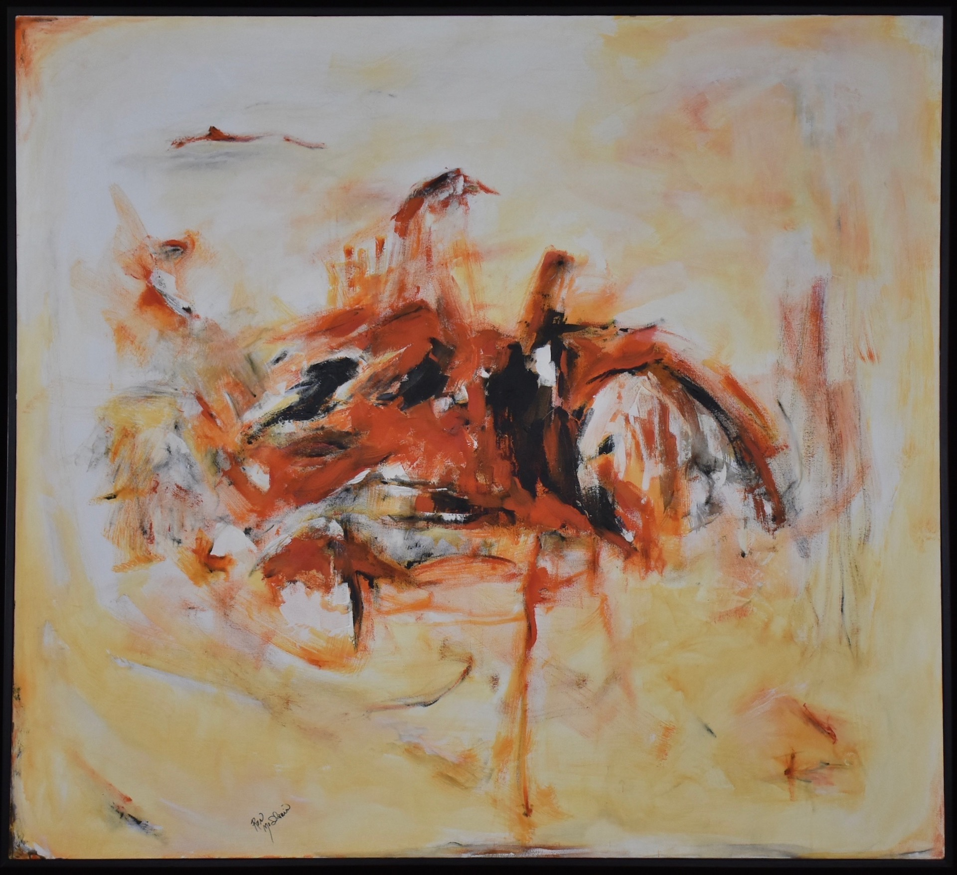 "Ron McIlvain , ""Orange & Black,"" Acrylic on Canvas"