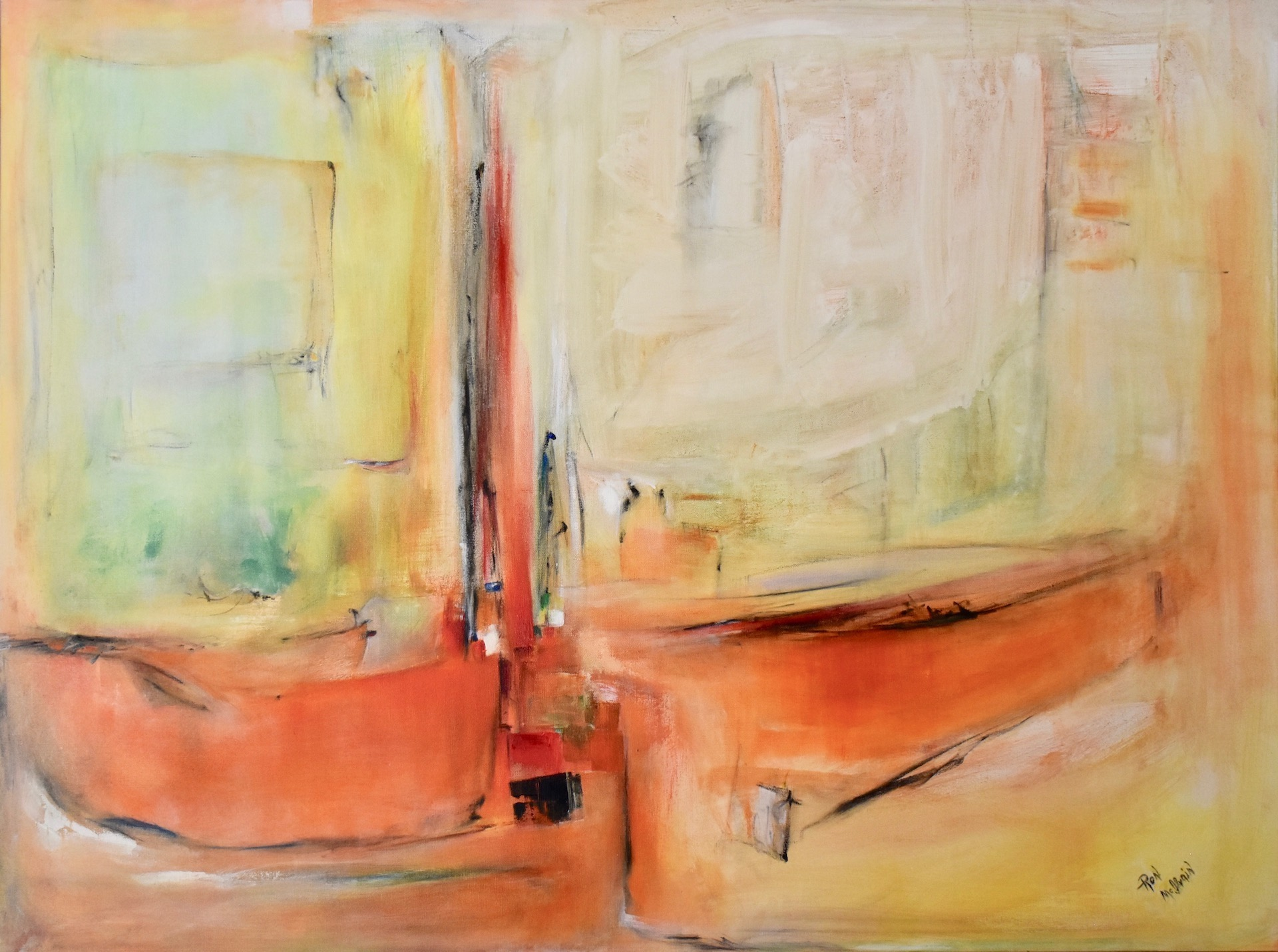 """Ron McIlvain, """"Boats at the Dock,"""" 2018, acrylic on canvas, 36"""" x 48"""""""