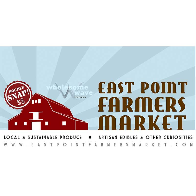 East Point Farmers Market   Year round, Wednesdays  Winter 2-6pm, Summer 4-7pm  2985 Duke of Gloucester, East Point, GA 30344  Contact: Sissie Lang  eastpointfarmersmarket@gmail.com