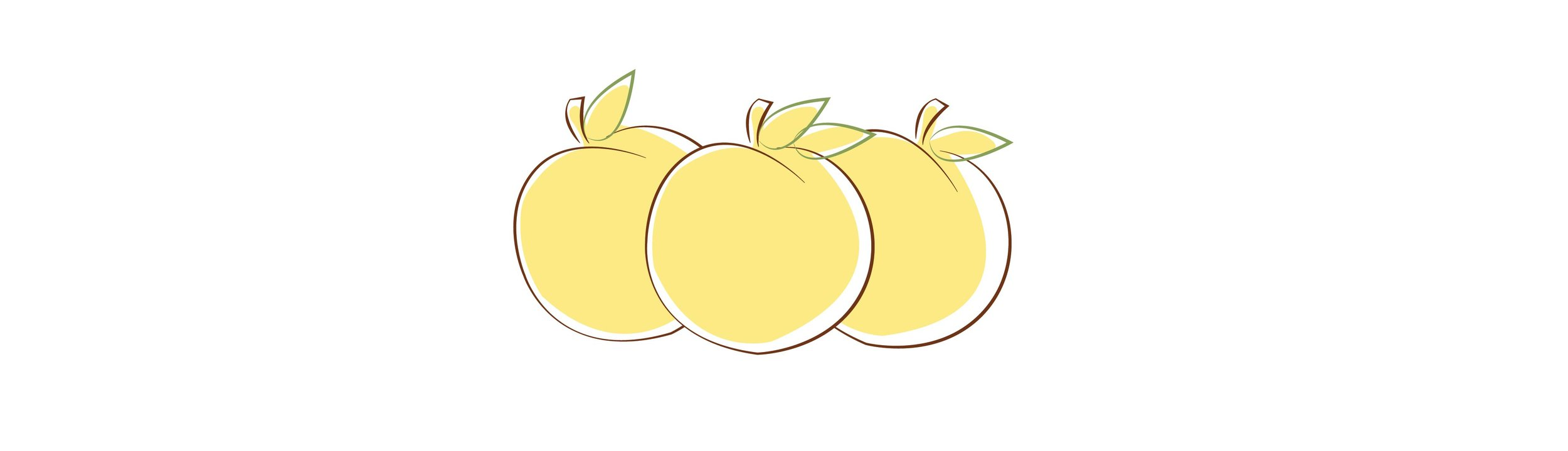 An illustrated image of a group of three peaches with the GFMA logo colors. Yellow, brown, green.